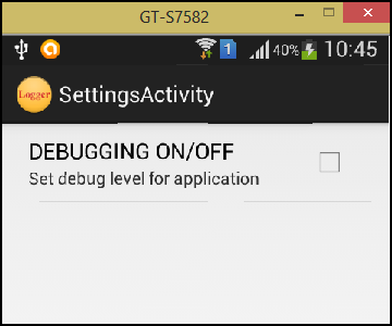 Debug Settings
